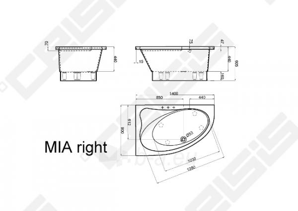 Vonia VISPOOL MIA 140x90 cm, dešinė Paveikslėlis 3 iš 3 270716001216