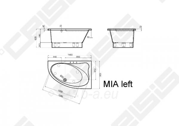 Vonia VISPOOL MIA 140x90 cm, kairė Paveikslėlis 3 iš 3 270716001217