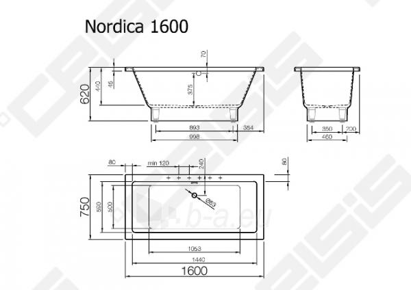 Vonia VISPOOL Nordica 160x75 cm Paveikslėlis 7 iš 7 270716001218