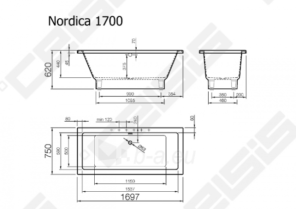 Vonia VISPOOL Nordica 169,5x75 cm Paveikslėlis 7 iš 7 270716001219