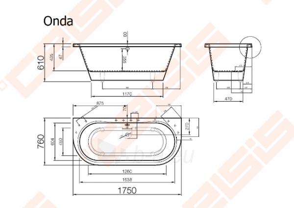Vonia VISPOOL Onda 175x76 cm Paveikslėlis 7 iš 7 270716001220