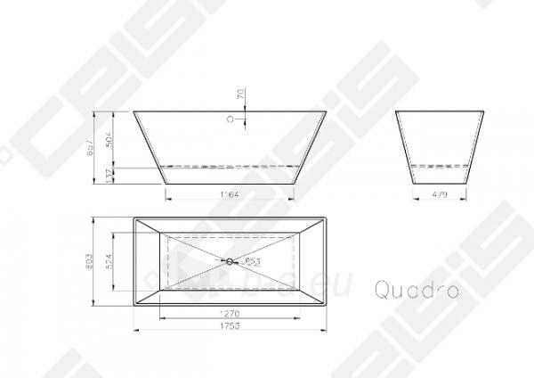 Vonia VISPOOL Quadro 175,8x80,6 cm Paveikslėlis 4 iš 4 270716001223