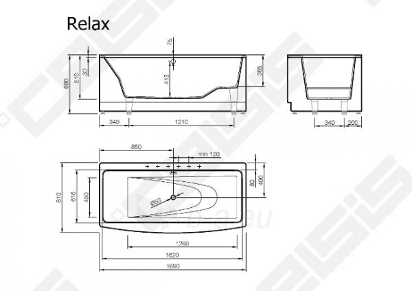 Vonia VISPOOL Relax 170x81 cm Paveikslėlis 6 iš 6 270716001224