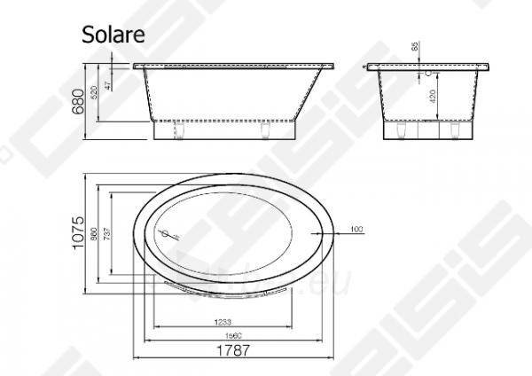 Vonia VISPOOL Solare 178,7x107,5 cm Paveikslėlis 7 iš 7 270716001225