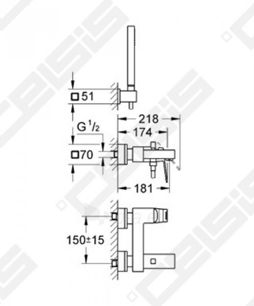 Vonios/dušo maišytuvas GROHE Eurocube Paveikslėlis 2 iš 2 270725000426