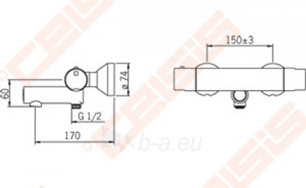 Vonios ir dušo termostatinis maišytuvas IL Bagno Alessi One by ORAS Paveikslėlis 2 iš 3 30091700053