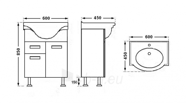 Vonios kambario spintelė su praustuvu A203 Paveikslėlis 2 iš 7 30057400192