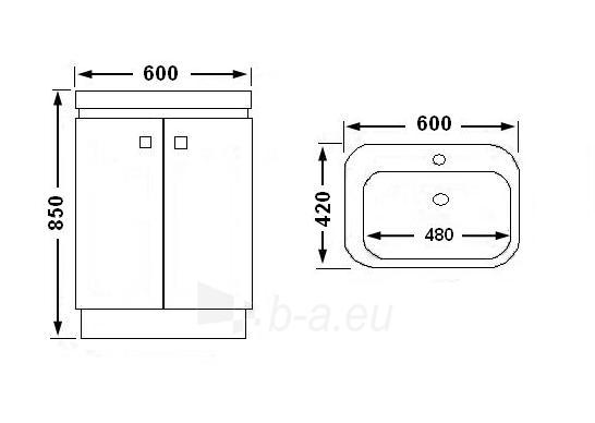 Vonios kambario spintelė su praustuvu C530 (be veidrodžio) Paveikslėlis 3 iš 7 30057400201