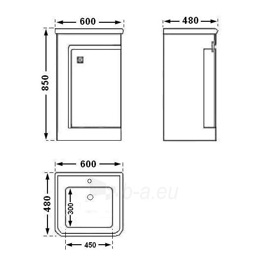 Vonios kambario spintelė su praustuvu C531 (be veidrodžio) Paveikslėlis 3 iš 7 30057400202