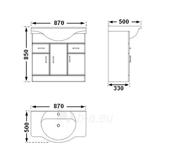 Vonios kambario spintelė su praustuvu D85 Paveikslėlis 2 iš 7 30057400209