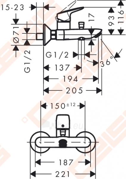 Vonios maišytuvas HANSGROHE Logis Paveikslėlis 2 iš 3 270725000421