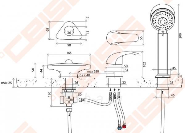 Vonios maišytuvas RAVAK Rosa RS025.00 iš vonios krašto Paveikslėlis 4 iš 4 270725000425