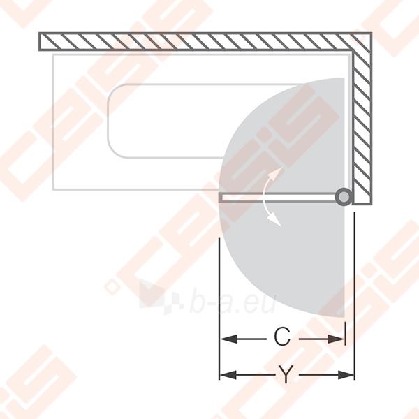 Vonios sienelė ROLTECHNIK TV1/75 su sidabro profiliu ir skaidriu stiklu, dešinė Paveikslėlis 2 iš 6 270717001179