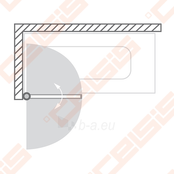 Vonios sienelė ROLTECHNIK TV1/80 su sidabro profiliu ir skaidriu stiklu, dešinė Paveikslėlis 3 iš 6 270717001181