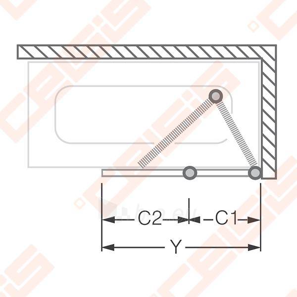 Vonios sienelė ROLTECHNIK TZVL2/1200 su specialia lankstų sistema, brillant profiliu ir skaidriu stiklu Paveikslėlis 2 iš 7 270717001183