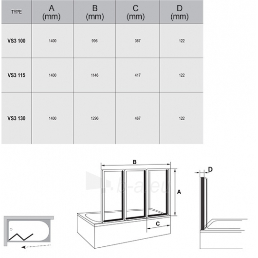 Vonios sienelė VS3 100/115/130X140cm Paveikslėlis 1 iš 2 270717001200