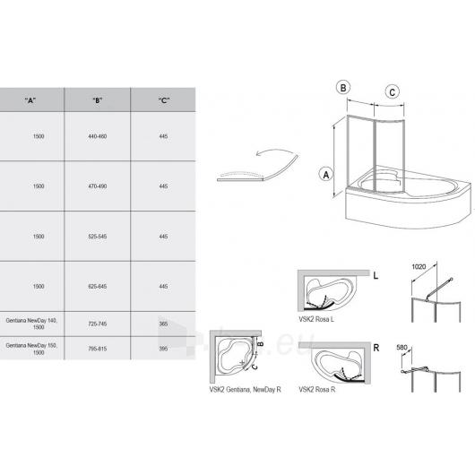 Vonios sienelė VSK2 Rosa 170 balta - plastikas Rain Paveikslėlis 2 iš 3 270717000524