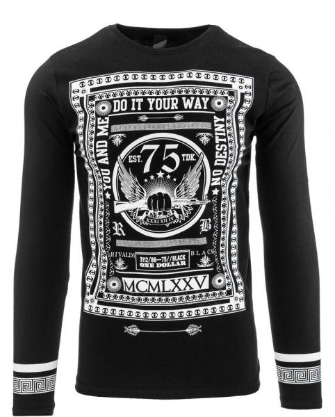 Vyriški marškinėliai ilgomis rankovėmis Flore (Juodi) Paveikslėlis 1 iš 2 310820032343