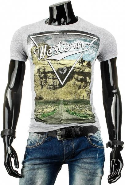 Vyriški marškinėliai WESTERN (Pilki) Paveikslėlis 1 iš 4 310820033465