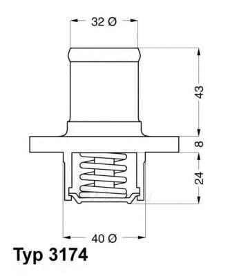 WAHLER termostatas, aušinimo skystis 3174.89D Paveikslėlis 1 iš 1 30119601721