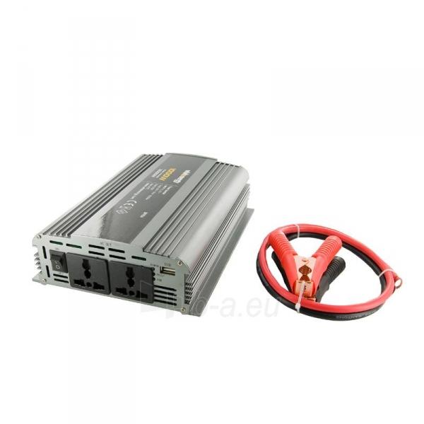 Whitenergy Inverteris AC/DC 12V (automobilis) 230V, 1000W, 2 lizdai Paveikslėlis 1 iš 3 250256401140