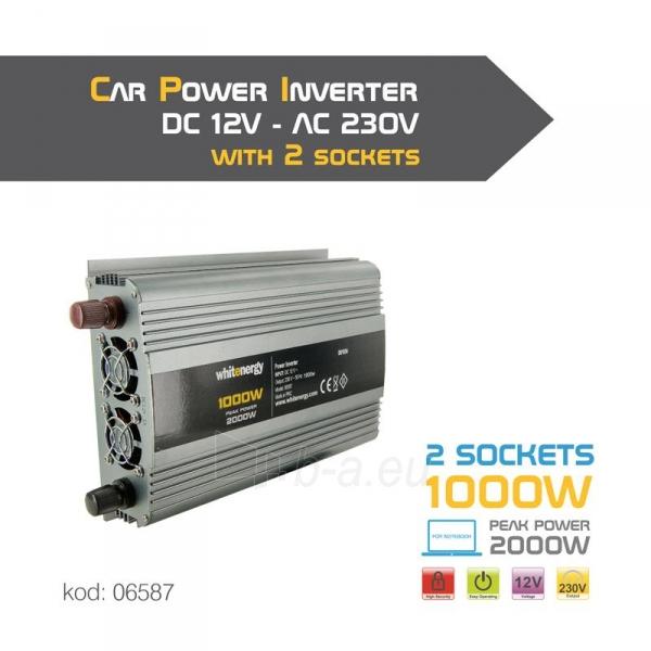 Whitenergy Inverteris AC/DC 12V (automobilis) 230V, 1000W, 2 lizdai Paveikslėlis 3 iš 3 250256401140