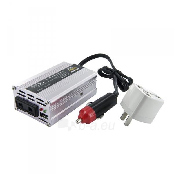 Whitenergy Inverteris AC/DC 12V (automobilis) 230V, 150W USB jugtis, mini Paveikslėlis 1 iš 4 250256401143