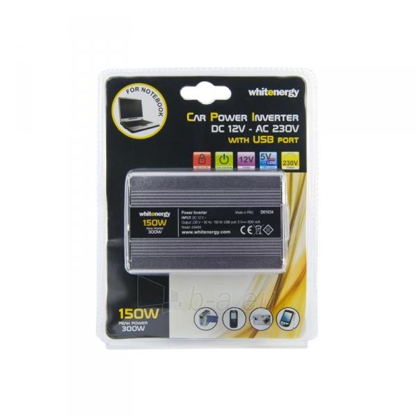 Whitenergy Inverteris AC/DC 12V (automobilis) 230V, 150W USB jugtis, mini Paveikslėlis 3 iš 4 250256401143