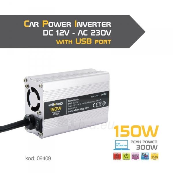 Whitenergy Inverteris AC/DC 12V (automobilis) 230V, 150W USB jugtis, mini Paveikslėlis 4 iš 4 250256401143