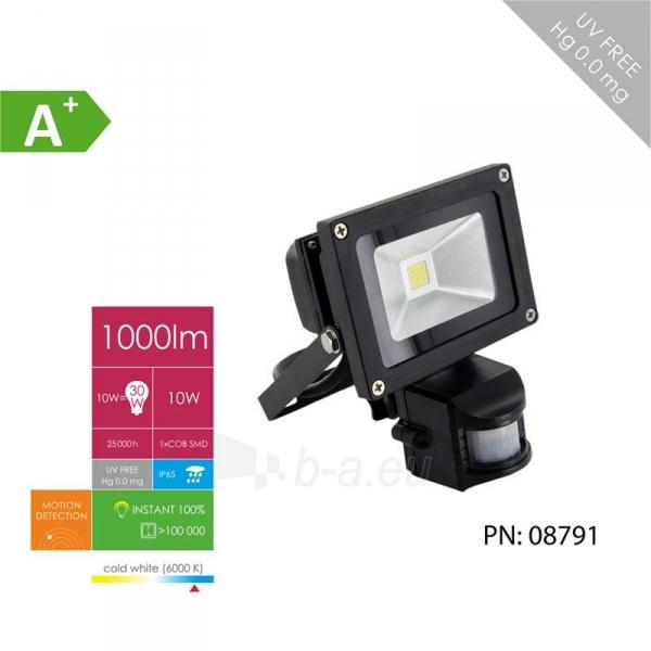 Whitenergy LED Lauko šviestuvas 10W | 6000K | 1000lm | IP66 | judesio jutiklis Paveikslėlis 3 iš 5 310820049319