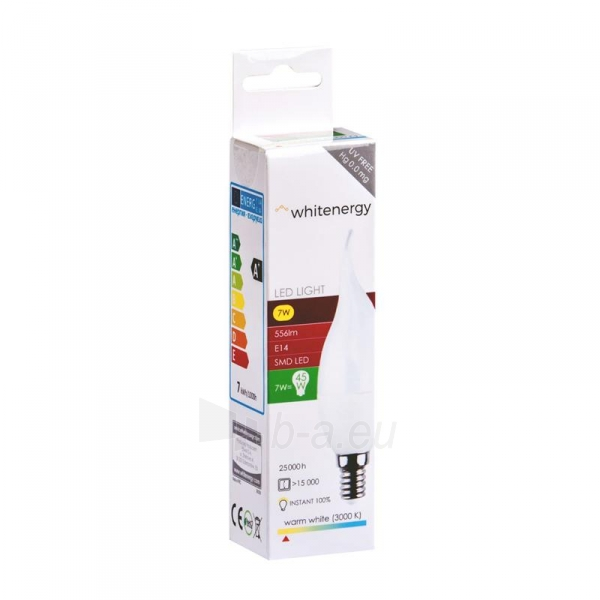 Whitenergy LED lemputė   8xSMD2835  C37L  E14   7W   230V   šilta balta   pienas Paveikslėlis 3 iš 4 310820103021