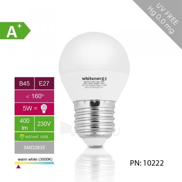 Whitenergy LED lemputė |10xSMD2835| B45 | E27 | 5W | 230V | šilta balta | pienas Paveikslėlis 4 iš 6 310820049371
