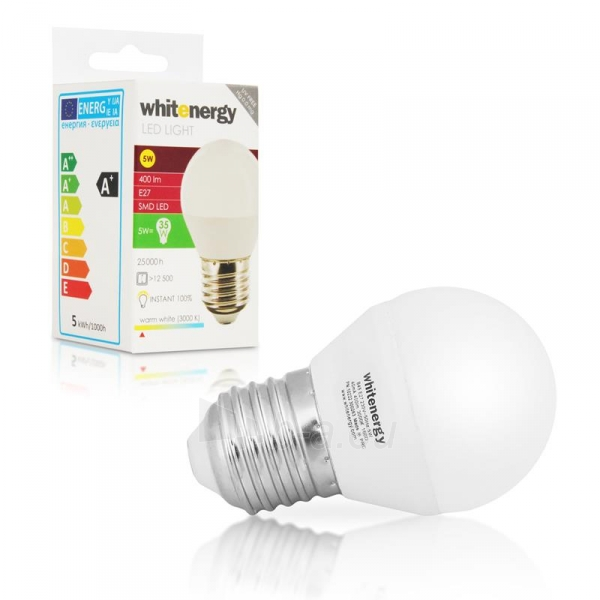 Whitenergy LED lemputė |10xSMD2835| B45 | E27 | 5W | 230V | šilta balta | pienas Paveikslėlis 5 iš 6 310820049371