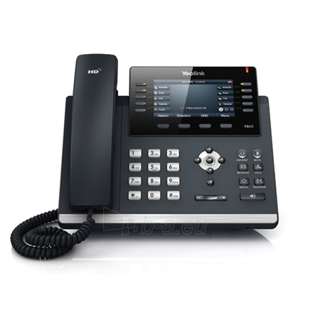 """Yealink SIP-T46G IP Phone, Yealink Optima HD voice, up to 16 SIP accounts, dual-port Gigabit Ethernet, 4.3"""" 480 x 272-pixel color, backlit display, Built-in a USB port,PoE(802.3af) class support, Headset, EHS support, Supports expansion modules, Wal Paveikslėlis 1 iš 1 310820004317"""