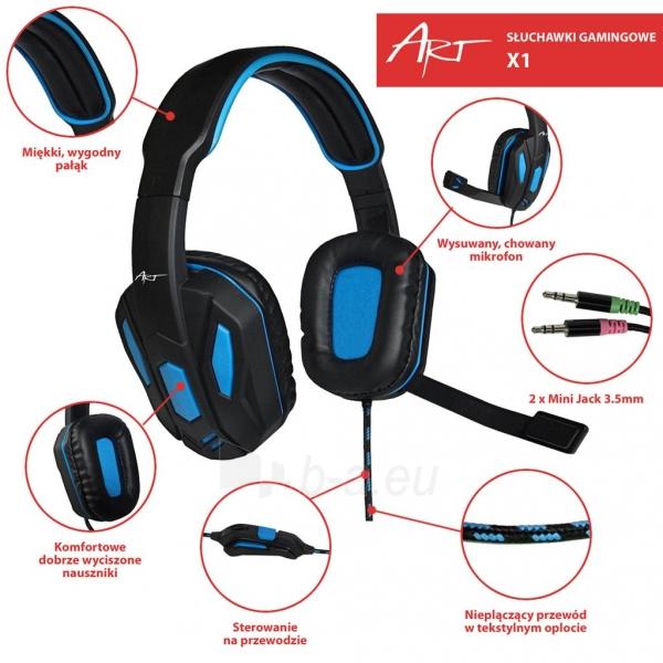 Žaidimų ausinės ART X1 su mikrofonu Paveikslėlis 2 iš 10 250255091258