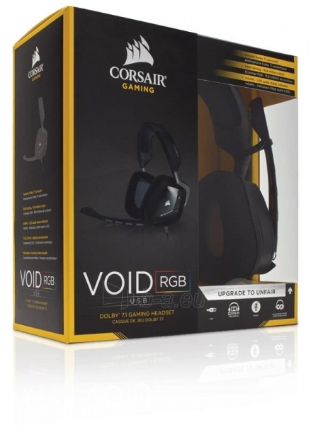 Žaidimų ausinės Corsair VOID 7.1, USB, RGB Lighting, CUE Control - juodos Paveikslėlis 1 iš 3 250255091224