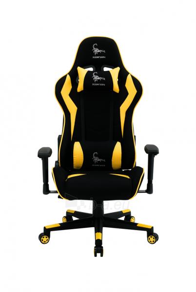 Žaidimų kėdė Gembird SCORPION-05, Medžiaginė juoda su geltonais elementais Paveikslėlis 14 iš 14 310820187935