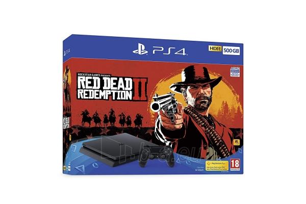 Žaidimų konsolė Sony Playstation 4 Slim 500GB (PS4) Black + Red Dead Redemtion 2 Paveikslėlis 1 iš 6 310820175092