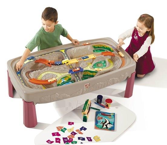 Žaislinis traukinio bėgių ir kelio stalas su dangčiu   Train & Track Table   Step2 Paveikslėlis 1 iš 7 310820003574