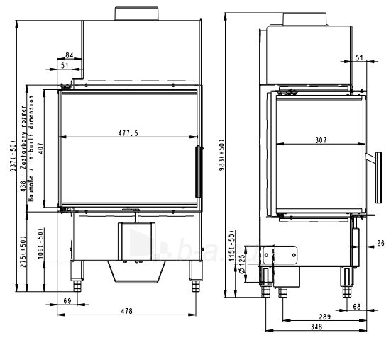 Židinio ugniakuras kampinis HL2SV23 50.44.33.13 Vientisu dešinės pusės stiklu 44 cm ir atv. Durimis Paveikslėlis 3 iš 3 310820254476