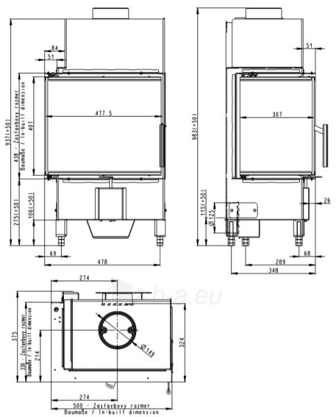 Židinio ugniakuras kampinis HL2SV23 50.44.33.23 su dviejų dalių kairės pusės atv. Stiklu Paveikslėlis 2 iš 3 310820254474