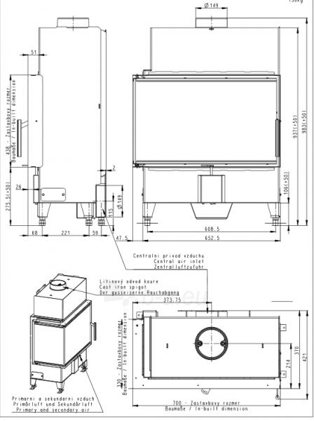 Židinio ugniakuras kampinis HL2SX23 70.44.33 dviejų dalių kairės pusės stiklu 44 cm ir atv. durimis Paveikslėlis 2 iš 2 310820254489
