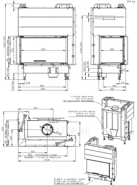 Židinio ugniakuras kampinis HL3LF01 81.51.40.01 vientisu kairės pusės pakel. stiklu 51 cm ir atv. durimis Paveikslėlis 2 iš 4 310820165811