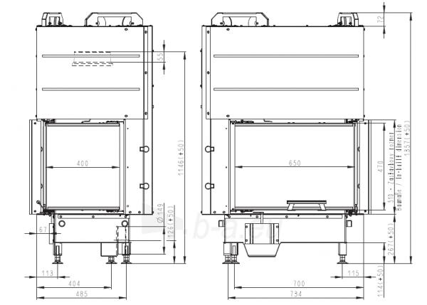 Židinio ugniakuras kampinis HL3LG01 65.51.40.01 vientisu kairės pusės pakel.stiklu 51 cm ir atv. durimis Paveikslėlis 4 iš 4 310820165812
