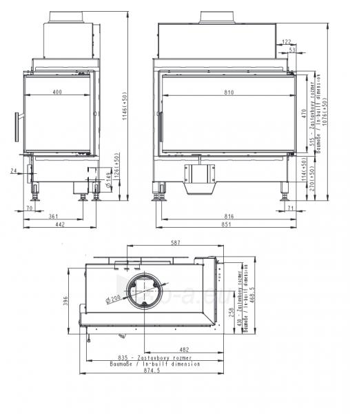 Židinio ugniakuras kampinis HR2SF21 81.51.40 dviejų dalių deš. pusės stiklu 51 cm ir atv. dur. Paveikslėlis 2 iš 2 310820165813