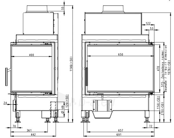 Židinio ugniakuras kampinis HR2SG21 65.51.40 dviejų dalių dešinės pusės stiklu 51cm ir atv. Durimis Paveikslėlis 2 iš 3 310820254475