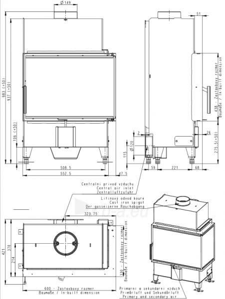 Židinio ugniakuras kampinis HR2SY13 60.44.33.13 vientisu dešinės pusės stiklu 44 cm ir atv. durimis Paveikslėlis 2 iš 2 310820165814