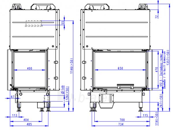 Židinio ugniakuras kampinis HR3LG21 65.51.40.01 sudurtu stiklu dešinės pusės pakel.stiklu 51 cm Paveikslėlis 3 iš 3 310820254465