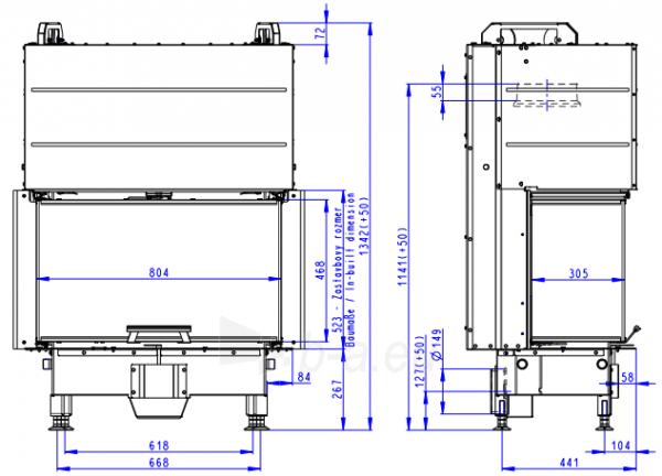 Židinio ugniakuras ROMOTOP trijų stiklų HC3LJ01+K1 80.52.31.01, pakel. durelėmis. Stiklas- vientisas, su montavimo rėmu Paveikslėlis 1 iš 3 310820254486