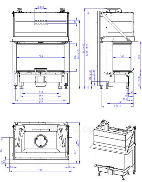 Židinio ugniakuras ROMOTOP trijų stiklų HC3LJ21+K1, pakel. durelėmis, stiklas 3 dalių, su montavimo rėmu Paveikslėlis 3 iš 3 310820254728